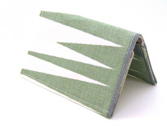 Mini Wallet / Card Holder / Business Card Holder / Card Case / Gift Card Holder/ Small Wallet - Sage and Gray Geometric