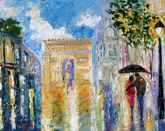 Fine Art Print - Paris Rainy Romance - from oil painting by Karen Tarlton - prints from palette knife art