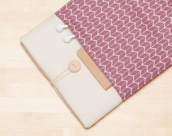 iPad sleeve, iPad Pro 10.5 case / iPad cover / iPad Pro 9.7 case /  padded  - Chevron mauve