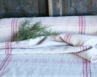 RP 831: rouleau lin, antique, chanvre, faded rouge framboise tissu 12,02 yards, mariage, décor lin, vintage, faites-le vous-même, décoration, printemps