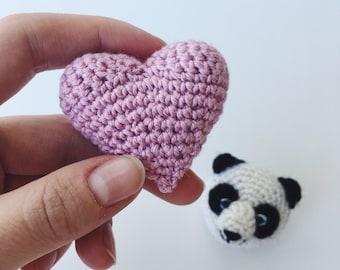 Pink heart - Crochet brooch Pink heart - Made to order
