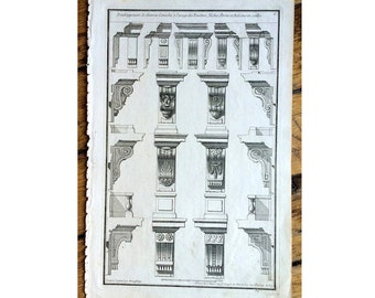 1757 CONSOLES original antique french architecture building details engraving -