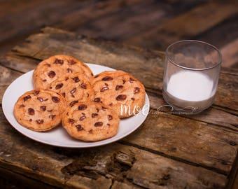 Cookies and Milk - Photography Prop - Felt Cookies and Milk - Santa Photo Prop - Newborn photo prop - Christmas