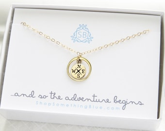 Compass Necklace • Compass Rose Charm • North Star • Traveler Jewelry • Journey Necklace • Graduation Gift • Compass Jewelry • Bon Voyage