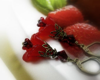 Red Flower Earrings, Floral Jewelry, Crimson Swarovski Crystal, Gifts for Gardeners,  Anniversary Gifts for Her, Flowers