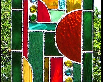 "Stained Glass Sun Catcher, Geometric Sun-Catcher, Abstract Stained Glass Suncatcher, Window Décor, Stained Glass Art,  7 1/2"" x16"", 9506-GR"
