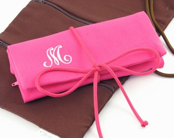 Monogrammed Jewelry Roll~ Personalized Travel Jewelry Roll~ Monogram Jewelry Organizer~ Travel Jewelry Case~ Travel Gift for Women