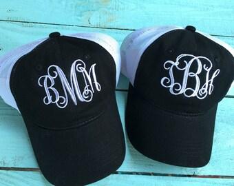 Monogram hat, Monogram Trucker cap, embroidered ball cap, monogrammed trucker hat, personalized trucker, mesh ball cap