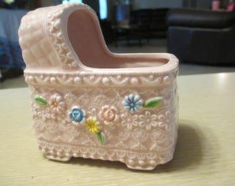 Vintage Baby Planter, Pink Ceramic Bassinet