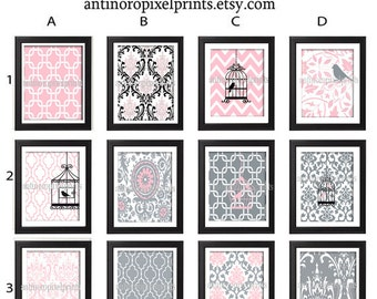 Baby Pink Grey Nursery Art Prints -Pick Any (6) Prints, Any Color - 8x10 Prints - Custom Colors Sizes Available (UNFRAMED)
