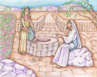 Jesus and woman at the Well, colored pencil drawing
