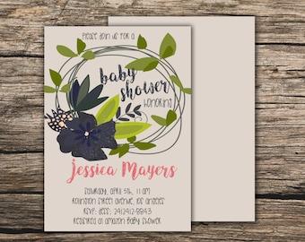 Green wreath baby shower invitation Printable Boho invite Green Boho invite Bohemian invite Green Baby shower invite Hippie boho invitation