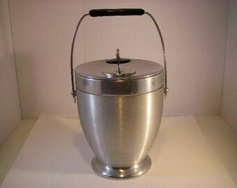 Mid-Century Kromex Ice Bucket, Brushed Aluminum and Chrome, Endearingly Beautiful Kromex 1960's, large iebucket