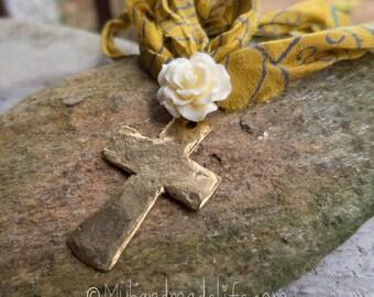 Hammered Cross on Sari Silk Long Necklace || Rose and Cross Necklace | Earthy | Organic | Sari Silk Cord | Boho | Hippie | Woodland Wedding