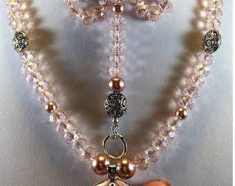 Pink Crystal, Sterling Silver, Pink Pearls, Pink Mother of Pearl