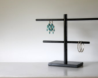 Glossy Black Earring Organizer, Earring Holder, Earring Display.  Hoop Earring Rack, Earring Hanger, Stud Earring Storage, Retail Fixture