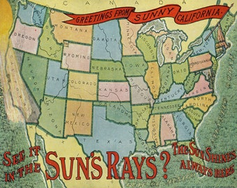 Art Print: Sunny California Postcard Poster