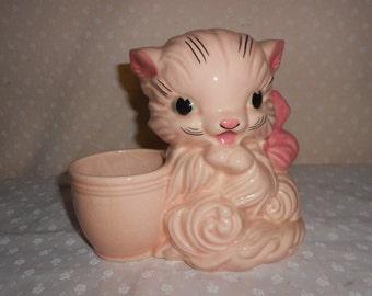 Hull Art Pink Kitten Planter