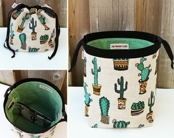 Cactus Print Linen Knitting Bag, Sock Knitting Bag, Knitting Tote, Sock Project Bag for two at a time sock knitting - Small Socksack