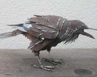 Scrap Metal Sculpture, Life-size Raven, Unique Art Work, Reclaimed Steel Art, Scrap Metal Bird