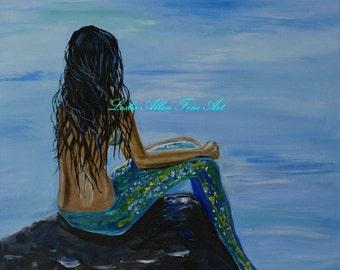 "Mermaid Art Mermaid Print Brunette Mermaid Art Memraid Wall Art Mermaid Painting Mermaid Decor Beach ""Mermaid Magic""  Leslie Allen Fine Art"