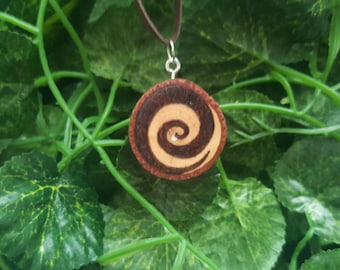 Spiral New Beginnings pendant natural pyrography pecan raw wood pagan wiccan wicca celtic geometry pagan jewelry