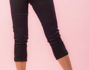 Side Zip Capri Pants  Black Twill Retro / Rockabilly / Vintage 50s Pinup Clothing
