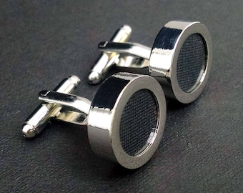 Black cotton cuff links – second anniversary or wedding mens gift