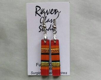 Red fused dichroic glass earrings, Dichroic glass jewelry, Fused glass dangle earrings, Red earrings, Orange earrings, EA255