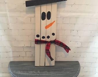 Decorative wooden snowman, rustic snowman, holiday decor, winter decor