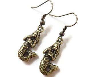 Bronze Mermaid Earrings, Mermaid Charm Earrings, Mermaid Jewelry, Nautical Jewelry, Beach Jewelry, Beach Earrings, Gifts under 5 Dollars