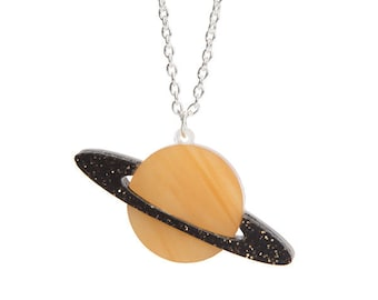 Planet necklace - laser cut acrylic perspex galaxy solar system marble pearl jupiter saturn