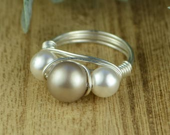 Pearl Ring- Platinum and White Crystal Pearls Wrapped Ring- Sterling Silver, Yellow or Rose Gold Filled Wire-Size 4 5 6 7 8 9 10 11 12 13 14