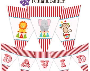 Carnival Pennant Banner - Red Stripe Circus Animal, Lion, Elephant, Monkey Personalized Birthday Party Banner - A Digital Printable File