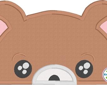 Teddy Bear Peeker Applique Machine Embroidery Design