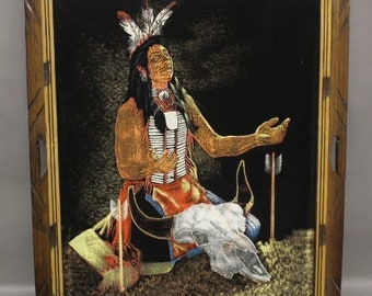 Vintage Velvet Native American Art Made in Mexico