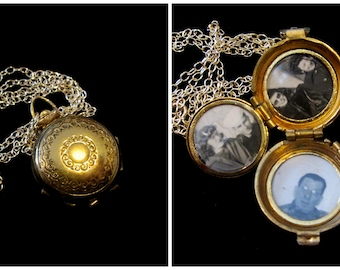 Vintage CORO 4 Picture Locket Necklace - Back to Basics