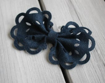 ANGEL LACE Midnight BLUE Wool Blend Felt Bow