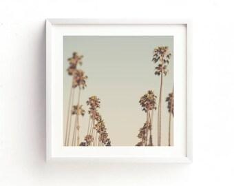 framed palm tree print, LA artwork, Los Angeles photography, ready to hang home decor, California photo, blue green decor, nursery wall art