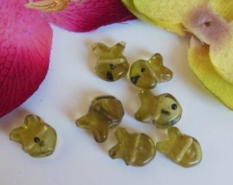 set of 6 fish glass beads