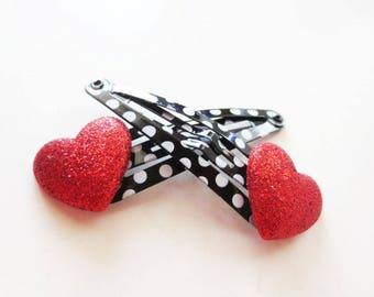 Red heart clippies. Polka dot clippies. Heart hair clips. Snap hair clips. Valentines clips. Black polka dot. White polka dot. Red heart.