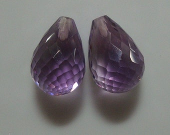 2 pcs, 13x9mm, AAA Gem Quality - Beautiful Amethyst Half Drilled Micro Faceted Teardrop Briolette - 3D cut, Febuary Birthstone