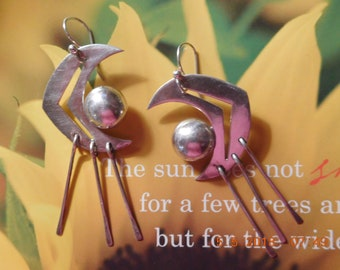 """The Crescent Moon, Sun, and Rain Vintage Sterling 925 Taxco Mexico Signed TS-102 HUGE Earrings Paddle Rain Fringe  Approx 2.5"""" L x  1 1/8"""" W"""