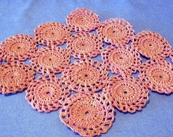 "Pink hand crocheted doily cotton thread 9""x 14"""