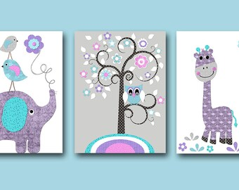 Baby Girl Nursery Art Print Nursery Print Kids Art Kids Wall Art Kids Rooom Decor Children Art Elephant Giraffe Lavender Rose set of 3