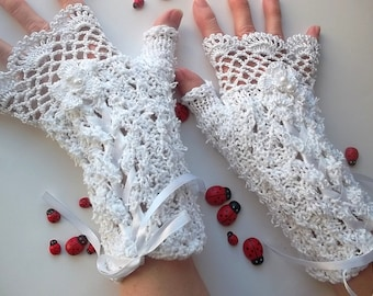 Crocheted Cotton Gloves L Ready To Ship Victorian Fingerless Summer Women Wedding Lace Evening Knitted Bridal Party White Corset Opera B54