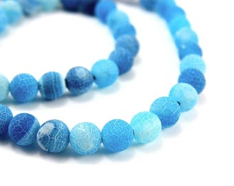 10 x 8mm Turquoise Frosted cracked Agate beads