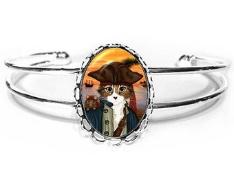 Pirate Cat Bracelet Captain Leo Rat Ship Sunset Fantasy Cat Art Silver Cat Cameo Bracelet 25x18mm Gift for Cat Lovers Jewelry