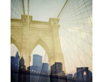 "Brooklyn Bridge Art Print, New York Photography, NYC Skyline, Fine Art Photography, 8x10 Print ""Truly, Madly, Manhattan"""