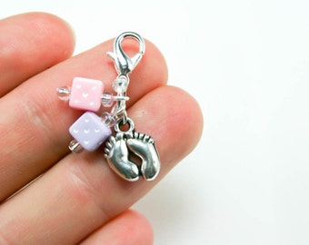 Baby Shower Charm. Baby Feet Baby Shower Favor. Pink and Purple Baby Charm. SCC113
